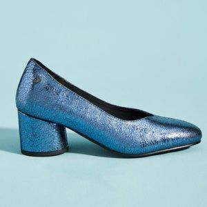 ANTHROPOLOGIE Gioseppo Metallic Leather Heels 39